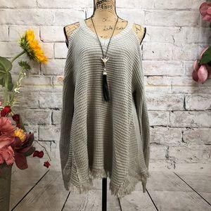 Umgee BOHO Cold Shoulder Waffle Knit Sweater